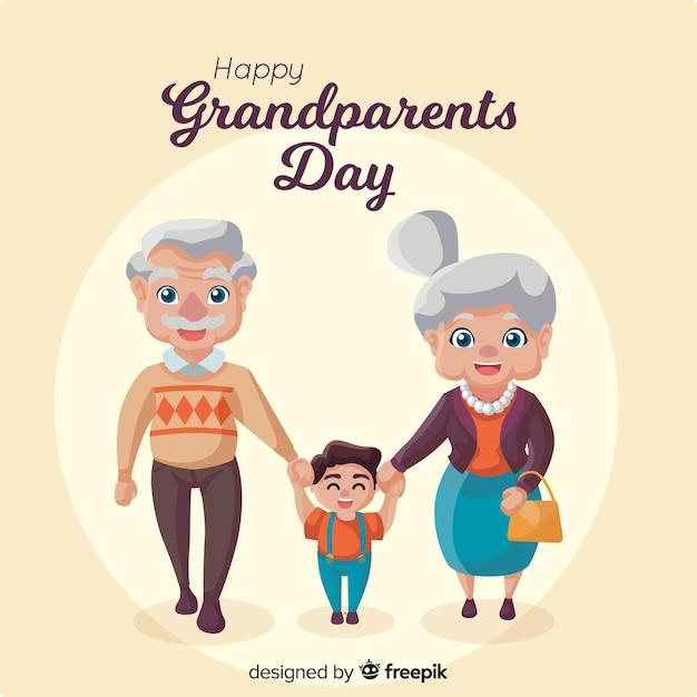 Composition de jour de beaux grands-parents au design plat Vecteur gratuit
