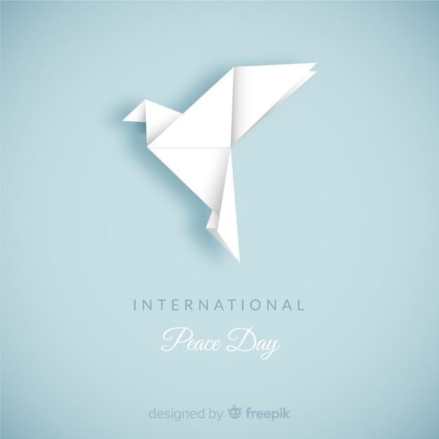 Composition De Jour De Paix Avec Colombe Blanche En Origami Vecteur Premium