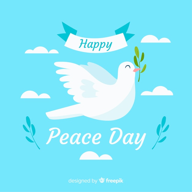 Composition de jour de paix avec colombe blanche et plate Vecteur gratuit