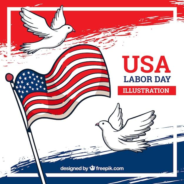 Composition de jour de travail américain dessinés à la main Vecteur gratuit
