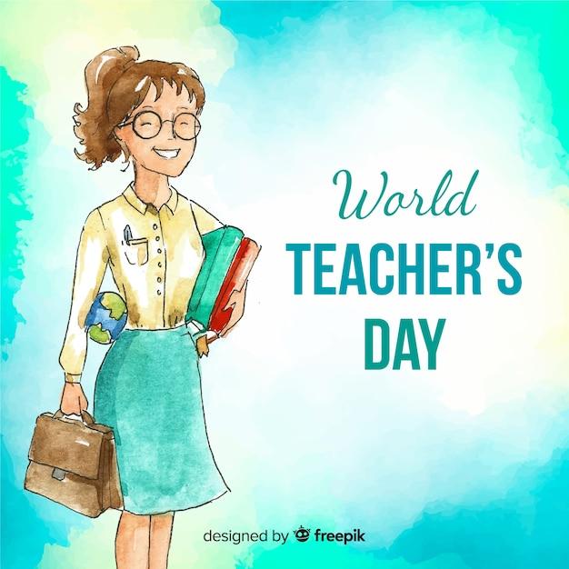 Composition de la journée des enseignants du monde aquarelle Vecteur gratuit