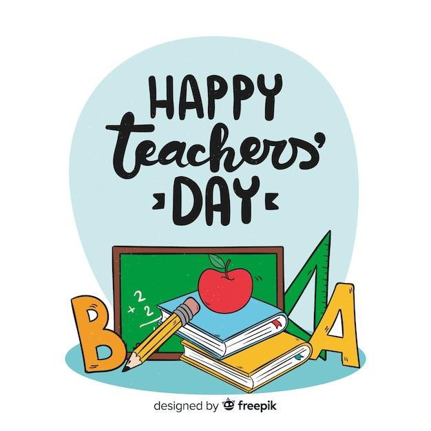 Composition de la journée des enseignants du monde dessiné main belle Vecteur gratuit
