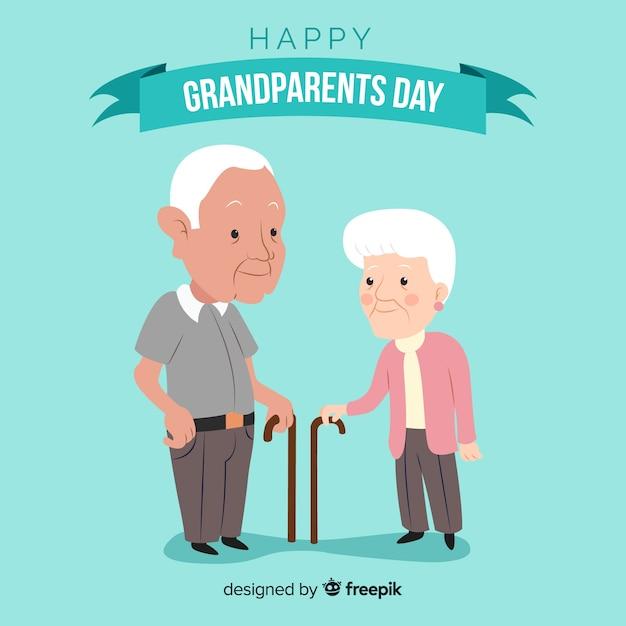Composition de la journée des grands-parents avec un design plat Vecteur gratuit