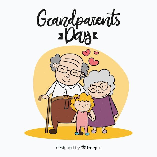 Composition de la journée des grands-parents dessinés à la main Vecteur gratuit