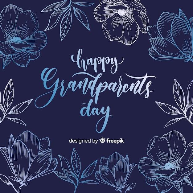 Composition de la journée des grands-parents avec lettrage élégant Vecteur gratuit