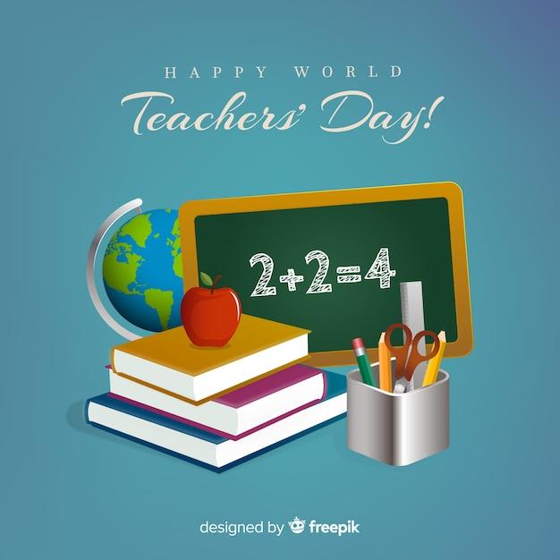 Composition de la journée mondiale des enseignants avec un design réaliste Vecteur gratuit