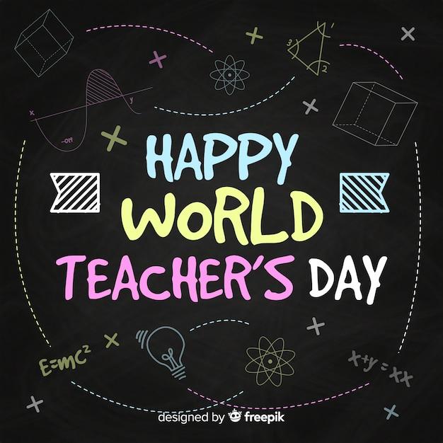 Composition de la journée mondiale des enseignants avec typographie moderne Vecteur gratuit