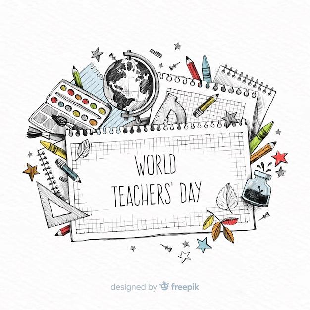 Composition de la journée mondiale des enseignants Vecteur gratuit
