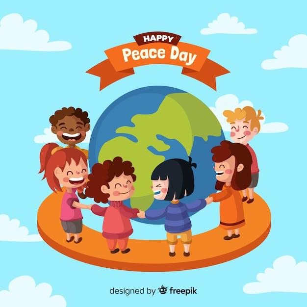 Composition de la journée de la paix avec des enfants se tenant la main dans le monde entier Vecteur gratuit