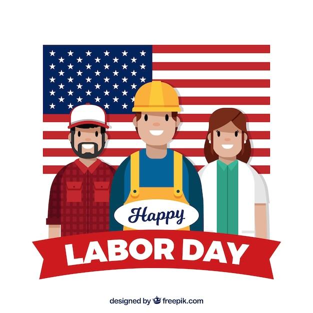 Composition de la journée de travail américain avec un design plat Vecteur gratuit