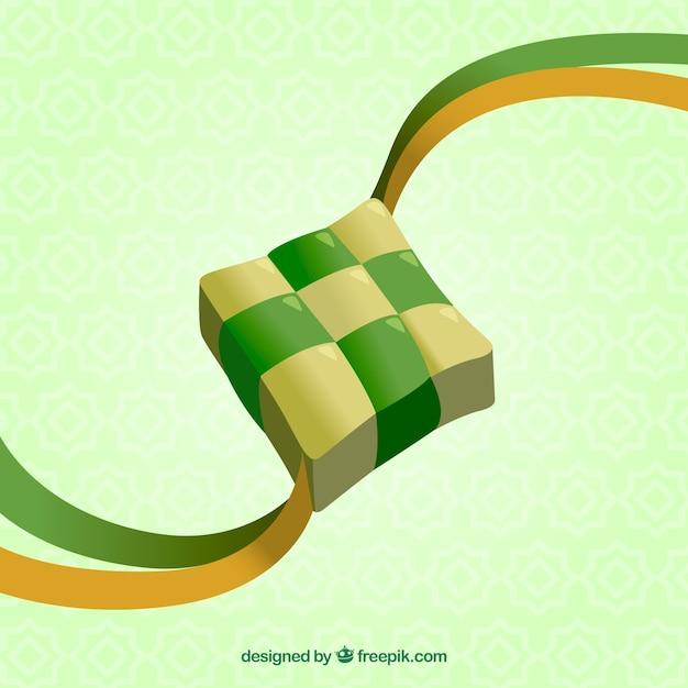 Composition de ketupat traditionnel réaliste Vecteur gratuit