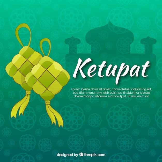Composition de ketupat traditionnelle avec un design plat Vecteur gratuit