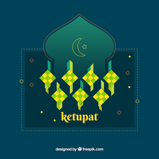Composition De Ketupat Traditionnelle Avec Un Design Plat Vecteur gratuit