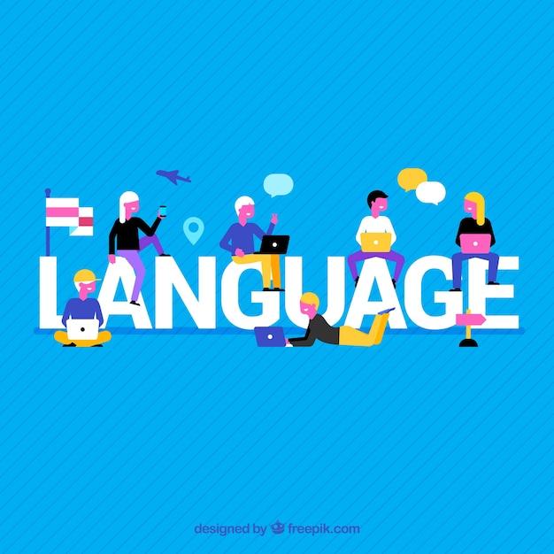 Composition de la langue avec un design plat Vecteur gratuit