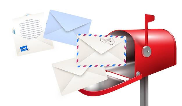 Composition de lettres de boîte aux lettres réaliste avec boîte aux lettres classique et enveloppes en papier pour les lettres Vecteur gratuit