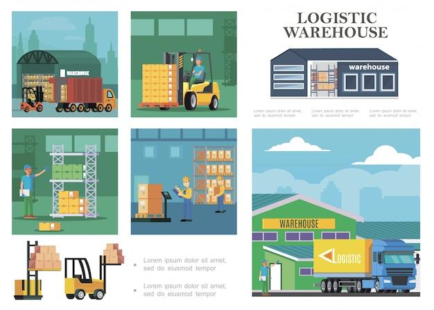Composition Logistique D'entrepôt Plat Avec Processus De Chargement De Camions Travailleurs De Stockage Transportant Des Boîtes De Pesage Et De Calcul Vecteur gratuit