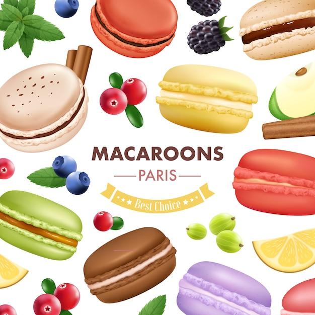 Composition de macaron avec des fruits isolés à la menthe et aux biscuits aux amandes Vecteur gratuit