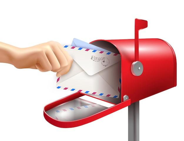 Composition De Main De Lettre De Boîte Aux Lettres Réaliste Avec Des Enveloppes De Main Humaine Et Une Boîte Aux Lettres Classique Vecteur gratuit