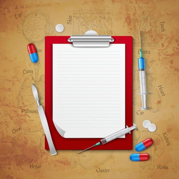 Composition médicale de cahier de médecins Vecteur gratuit