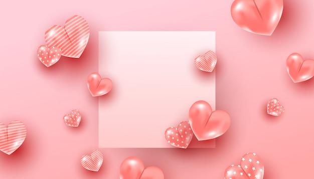 Composition Minimale Créative Avec Un Motif De Coeurs De Ballon Rose Volant Dans L'air Autour D'un Cadre En Papier Sur Fond Rose Vecteur Premium