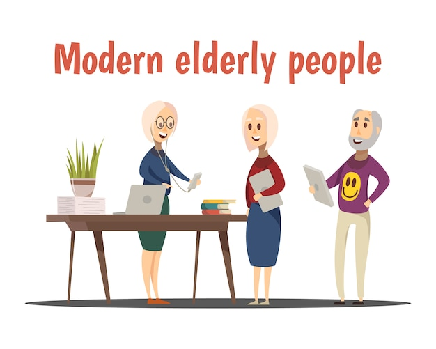 Composition Moderne Des Personnes âgées Vecteur gratuit