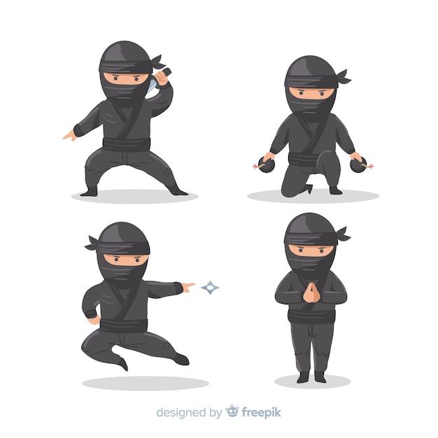 Composition De Ninja Classique Avec Un Design Plat Vecteur gratuit