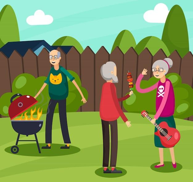 Composition Orthogonale Des Personnes âgées Vecteur gratuit