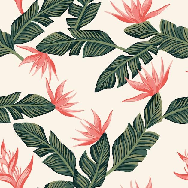 Composition de papier peint de modèle sans couture de feuilles et de fleurs de banane tropicale vert foncé Vecteur Premium