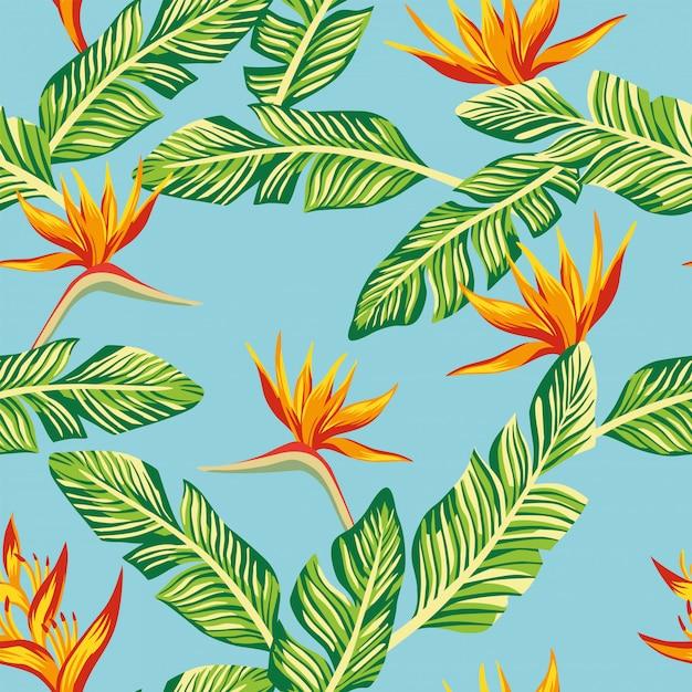 Composition de papier peint de modèle sans couture de feuilles et de fleurs de bananier tropical vert Vecteur Premium