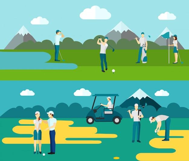 Composition de parcours de golf 2 plat bannières Vecteur gratuit