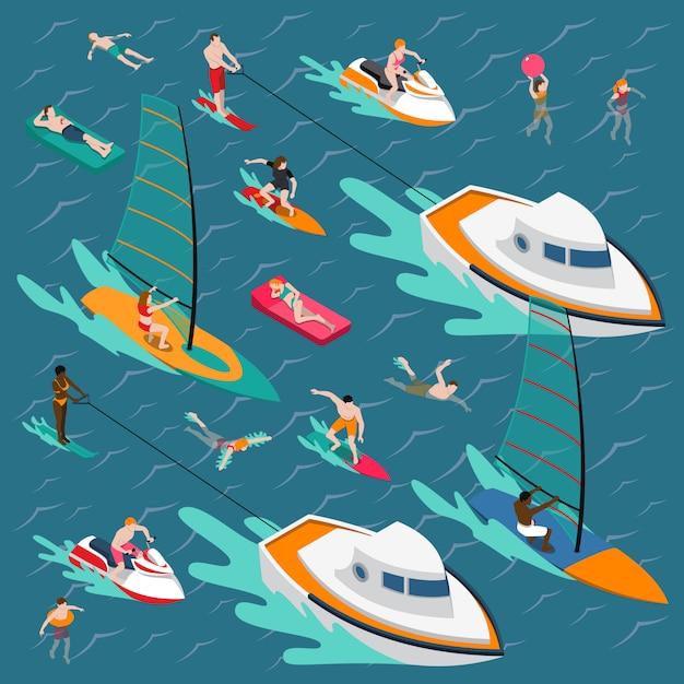 Composition de personnes colorées de sports nautiques Vecteur gratuit