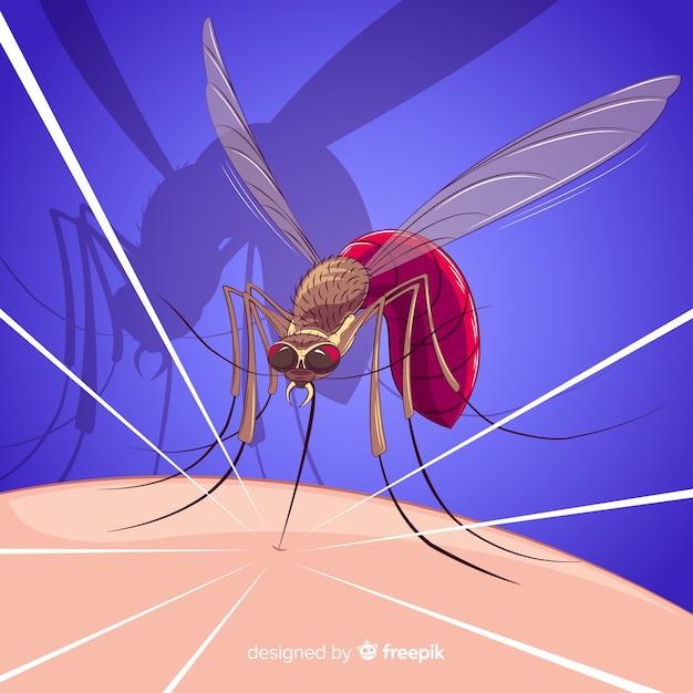 Composition de piqûre de moustique colorée Vecteur gratuit