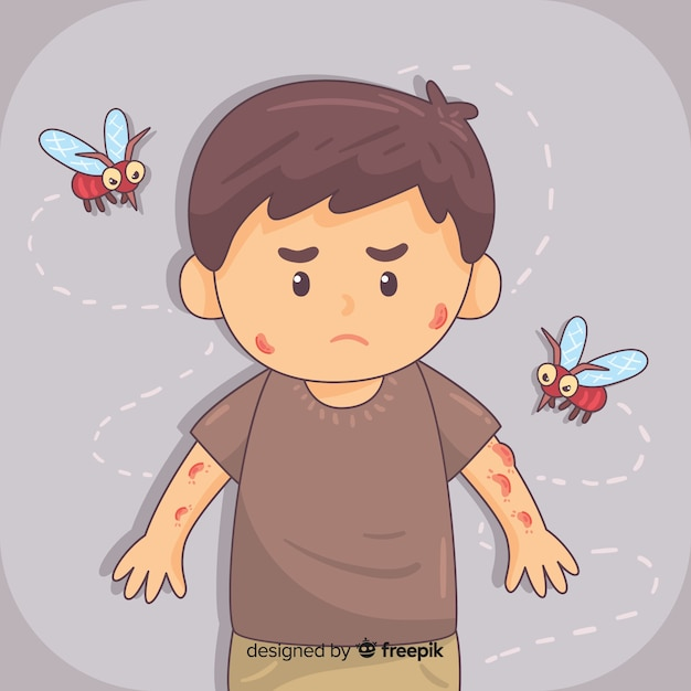 Composition de piqûre de moustique dessinée à la main Vecteur gratuit
