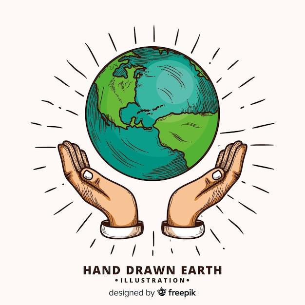Composition de la planète terre dessiné main belle Vecteur gratuit