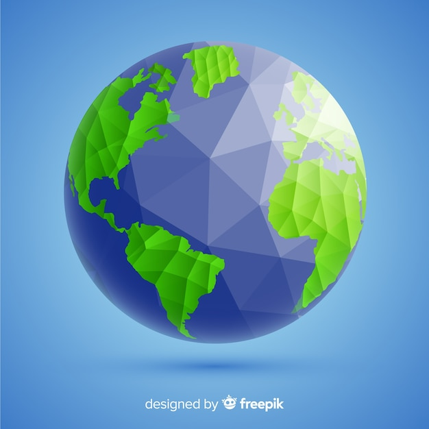 Composition de la planète terre moderne avec style polygonal Vecteur gratuit