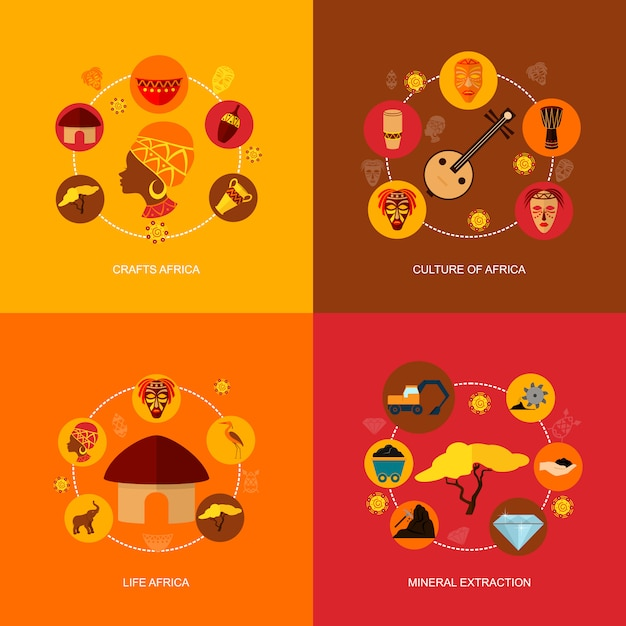 Composition plate d'icônes d'afrique Vecteur Premium