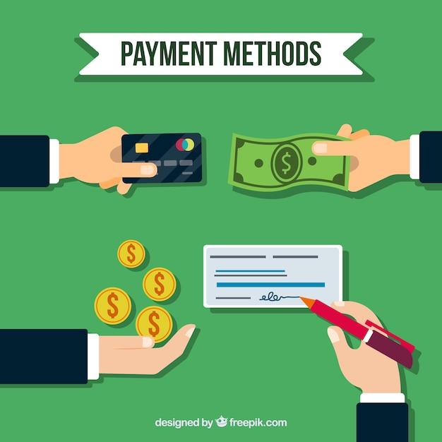Composition plate avec méthodes de paiement traditionnelles Vecteur gratuit