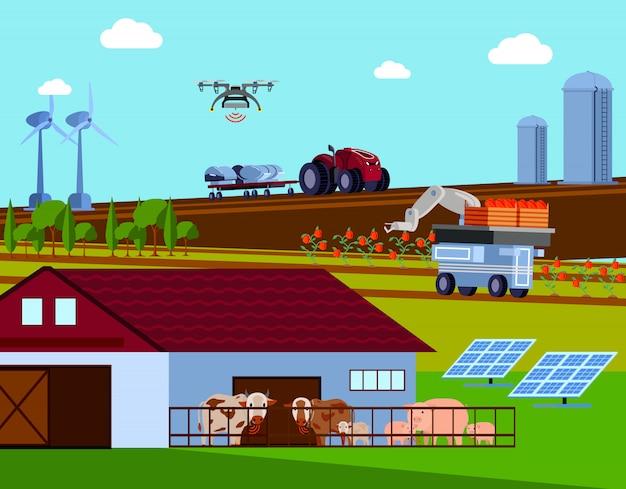 Composition Plate Orthogonale De Smart Farming Vecteur gratuit