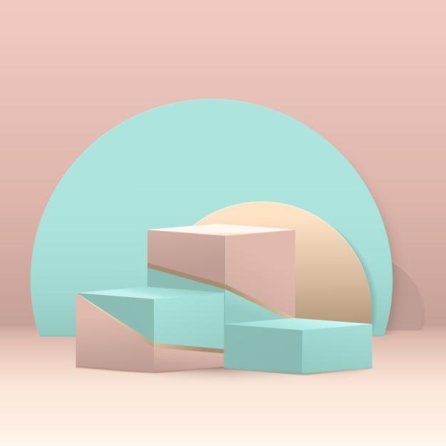 Composition De Podium Cube étapes 3d. Abstrait Géométrique Minimal. Couleur Pastel Bleu, Vert Et Or Avec Espace. Vecteur Premium