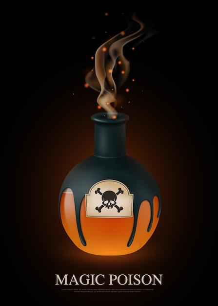 Composition De Poison Réaliste Colorée Avec Titre De Poison Magique Et Godille Sur Bouteille Vecteur gratuit