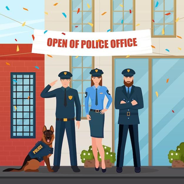 Composition policière festive Vecteur gratuit