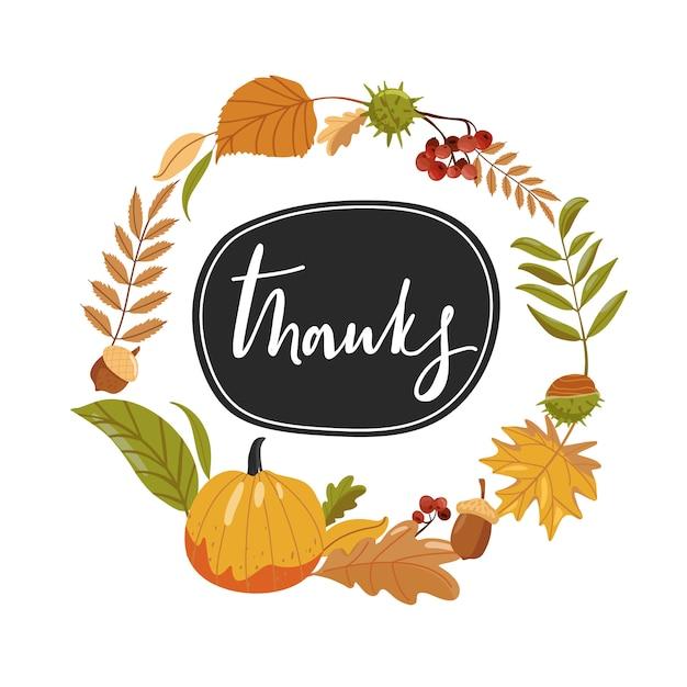 Composition Pour Le Jour De Thanksgiving. Feuilles D'automne, Citrouille Et Lettrage. Vecteur Premium