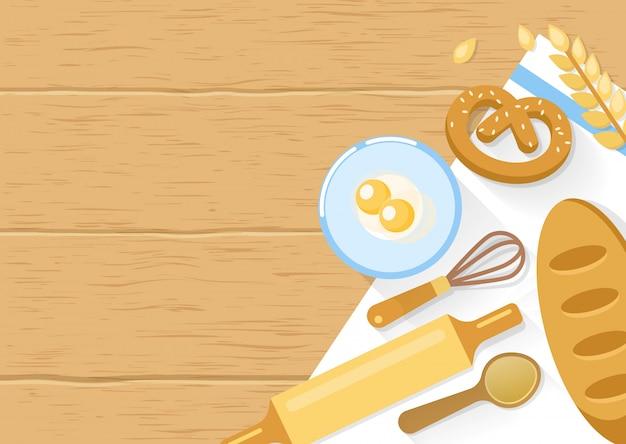 Composition Des Produits De Boulangerie Et Des Outils De Cuisine Vecteur gratuit