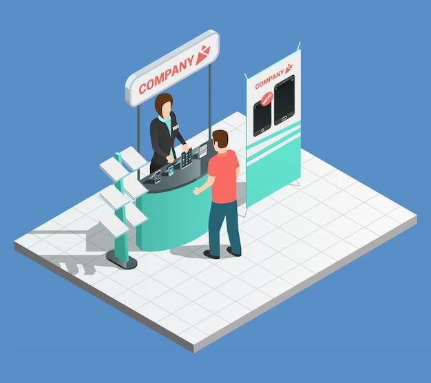 Composition de promotion d'exposition avec stand isométrique et promoteur féminin Vecteur gratuit
