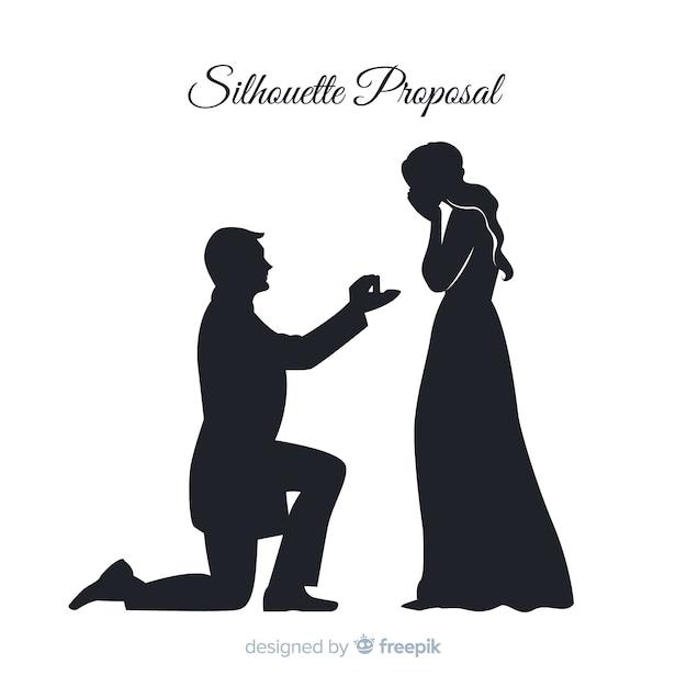 Composition de proposition de mariage avec style silhouette Vecteur gratuit