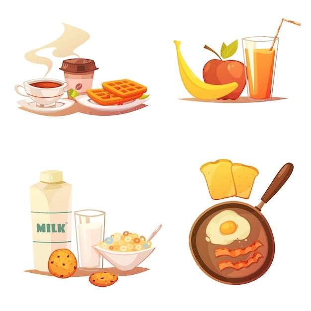 Composition de quatre icônes colorées sur fond blanc Vecteur gratuit