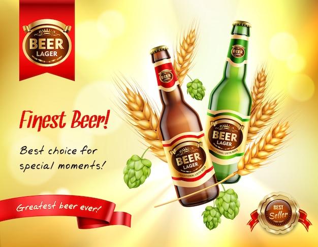 Composition Réaliste De Bière Ad Vecteur gratuit