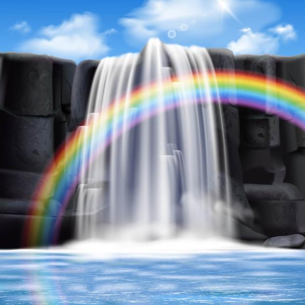 Composition réaliste de cascades colorées Vecteur gratuit