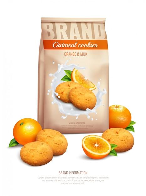 Composition Réaliste De Cookies Avec Des Symboles De Goût D'orange Et De Lait Vecteur gratuit