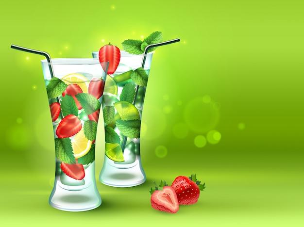 Composition réaliste de deux cocktails Vecteur gratuit